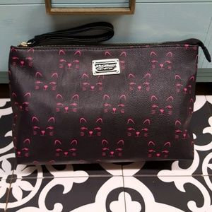 *SALE*Betsey Johnson cat face black cosmetic bag